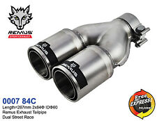 REMUS Exhaust Tailpipe Tip Trim Dual 2x84mm Street Race S/S with Carbon 0007 84C