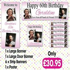 PERSONALISED 2 PHOTO BIRTHDAY PARTY BANNER PACKS ANY AGE NAME EVENT A004