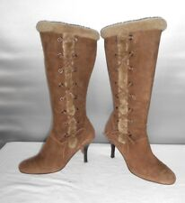 Women's Joan & David Circa Brown Leather Suede Fashion Knee High Boots Size 8 B