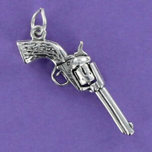 Gun Pendant - 925 Sterling Silver - Revolver Charm Movable Chamber *NEW*