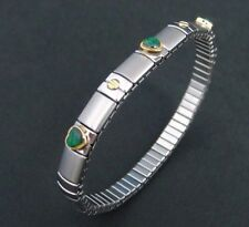 stainless steel expansion bracelet with 18k gold screw and green hearts 1765
