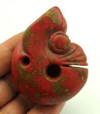 "Ancient  Hongshan Culture Rde Turquoise Jade Pig Dragon Amulet Pendant 2.7""H383"