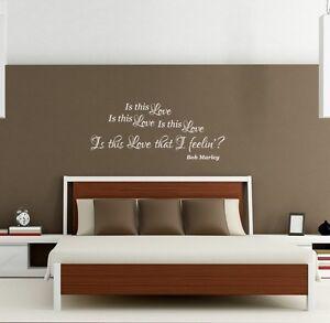 Bob Marley wall art sticker music Is this love that I'm feeling bedroom home diy