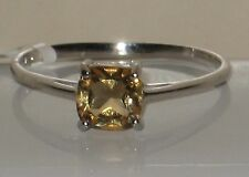 WOW  GENUINE BRAZILIAN CITRINE CUSHION CUT RING  .925 STERLING SILVER  SIZE 8.5
