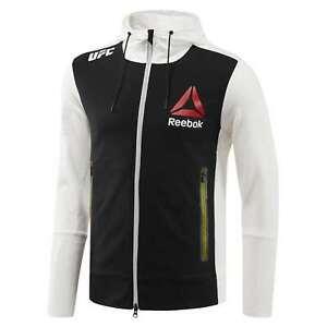 Reebok Official UFC League Fight Kit Full Zip Walkout Hoodie Blank Chalk Black