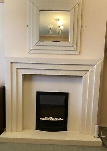Modern Fire, Fire Surround And Matching Mirror