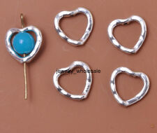 20pcs Tibetan Silver Crafts Heart Findings Charm Spacer Beads 13x14MM D3009