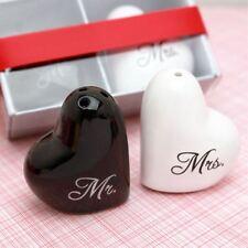 Ceramic Heart Mr  Mrs Salt  Pepper Shakers Wedding Favor CN