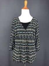 Travel Knit Top L Black Blue Gold Abstract Print Faux 2Pc 2Fer Texture NOTATIONS