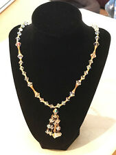 """Vintage Antique Crystal Chandelier Necklace with Goldtone accents 22"""""""