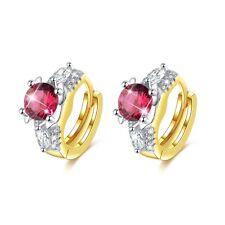 18k Yellow Gold GF Made With Rose Red Swarovski Crystal Huggies Earrings Fashion