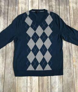 Banana Republic Silk Cashmere Blend Sweater V-Neck Mens L Gray Blue Argyle