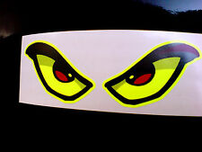 FLUORESCENT EVIL EYES Car Motorcycle Helmet Stickers Decals 1 off Pair 90mm