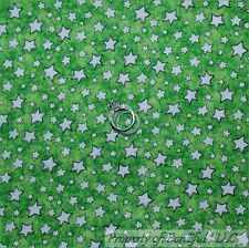 BonEful Fabric FQ Cotton Quilt Green White Baby Nursery Little Star Xmas Holiday