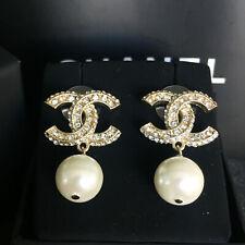 Women Chanel CC Logo Fully Crystal Drop Dangle earrings with pearl