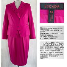 ESCADA EUR 44 US 14 Dark Pink Wool Cotton Stretch Studded Dress Jacket Suit NEW