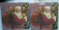 lot of 2 Christmas Old Saint Nick Santa Claus Paper Napkins Lunch Dinner Party