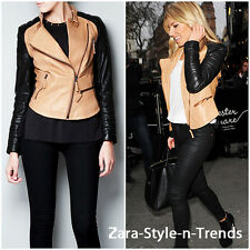 Size M - ZARA REAL LEATHER BIKER JACKET WITH ZIPS TWO TONE BLACK CAMEL COAT