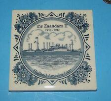 "Tile MS Zaandam II 1938-1942 Trivit Holland Cruise Line Blue & White about 4""x4"""