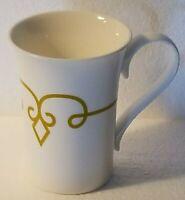 11 oz Starbucks Coffee Mug Cup 2014 White w/ Diamond Scroll in White & Gold