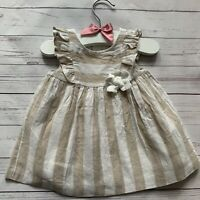 Baby Girls 2-4 Months - Dress - MAYORAL Beige White Stripe Ruffle Linen Blend
