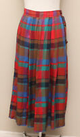 Vintage 1980s Womens Chaus Red/Blue/Brown/Green Plaid Button Side Midi Skirt