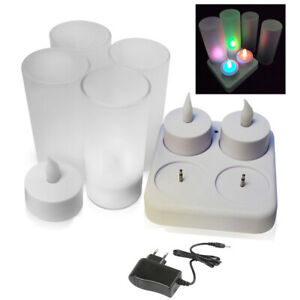 Plastic Rechargeable Tealight LED Tea Light Candles Flickering w/Charging Dock