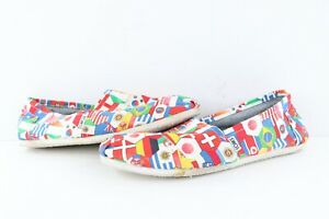 Toms Mens Size 12 World Flag Al Over Print Slip On Shoes Sneakers Cotton Canvas