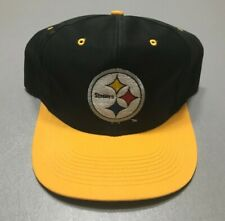 Vintage 90s Pittsburgh Steelers NFL Blockhead Spell-Out Logo 7 SnapBack Hat RARE