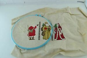 Santa Clause Partially Done Incomplete Cross Stitch Needlepoint Embroidery Vtg