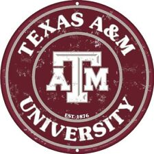 "Texas A&M University Aggies 12"" Round Collegiate Metal Sign Embossed Home Decor"