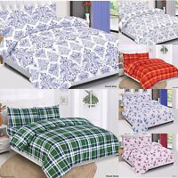 Cotton Quilted Duvet Cover Set, Bedding Set With Pillow Cases & Fitted Sheet