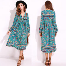 BOHO Women's Chiffon Long Sleeve Floral V-neck Kaftan Ethnic Maxi Dress Sundress