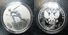 2014 Russia Large Silver 1 OZ Proof 3 Roubles Sochi Olympics Skating