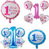 1st Birthday Baby Boy Girl Shower Party Decoration Foil Balloons Blue Pink 5pcs