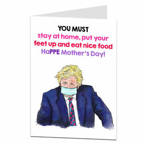 Funny Mothers Day Card For Mum From Son Daughter Lockdown 2021 Boris Design