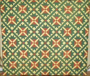 Vibrant Vintage 1860's Goose Tracks Antique Quilt ~GREAT COLORS!