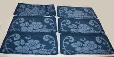 6 Ralph Lauren Talmadge Hill Floral Blue Washcloths Set New Rare