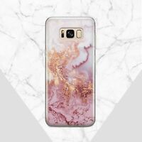 Pink Marbled Stone Mineral Case Cover For Samsung Galaxy Note 8 9 S8 S9 S10 Plus