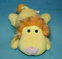 "Fine Toy LION 10"" Yellow Plush Heart on Rump Lying Flower Bow Stuffed Soft Toy"