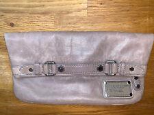 Nude Beige Grey MARC BY MARC JACOBS Leather Clutch Handbag Bag Green Blue Lining