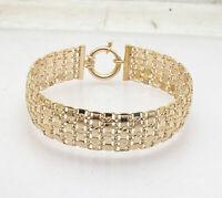 "7.50"" Technibond Diamond Cut Domed Tapestry Bracelet 14K Yellow Gold Clad Silver"