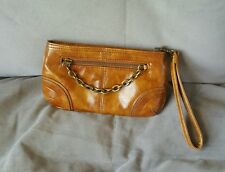 Women's Express Brown Chain Clutch Wallet Front zip chain Faux Leather