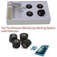 Bluetooth TPMS Car Tire Tyre Pressure Monitoring Alarm Warning System & 4 Sensor