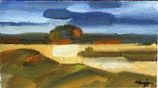 """Russischer Realist Expressionist Öl Pappe """"Abend"""" 17 x 10 cm"""