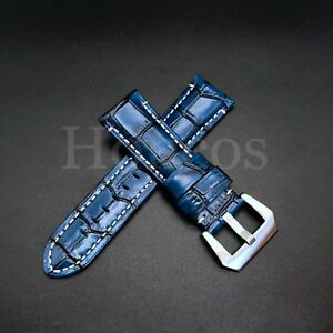 24MM Royal Blue Leather Alligator Watch Strap Fits for Panerai 44MM Luminor USA