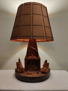 Vintage Carved Wood Figural Table Lamp with Wood Shade Folkart Excellent Shape