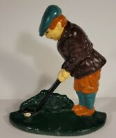 Vintage Cast Iron Door Stop Golfer Putter Golf Bookend