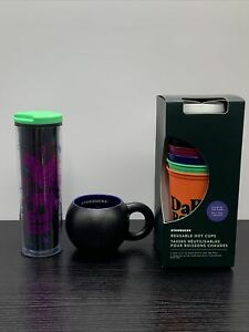 Starbucks Halloween Set Skull & Crow Tumbler+Witch Cauldron Mug+Glow In The Dark