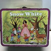 Vintage Snow White And The Seven Dwarfs Metal Lunch Box W/Spinner Game Bryan, O